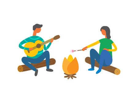 Couple near bonfire singing songs and cooking marshmallows vector isolated people. Cartoon man with guitar and woman on log resting outdoors, summer picnic Ilustrace
