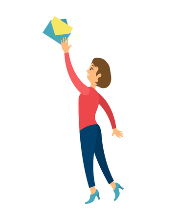 Woman stretching to message, letter in envelope isolated. Vector female going to open paper document, trying to reach it on top, manager on high heels
