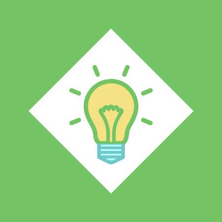 Bombilla eléctrica en vector cuadrado, bombilla brillante idea icono aislado. Lluvia de ideas sobre creatividad, iluminación de líneas. Objeto que simboliza la solución empresarial