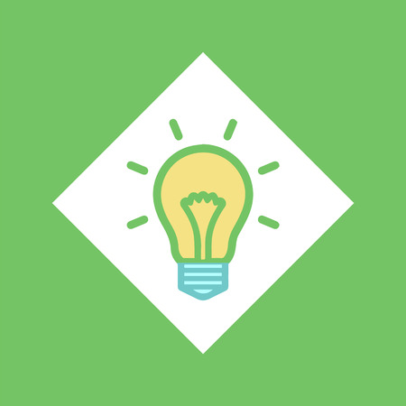 Electric bulb in square vector, glowing lightbulb idea isolated icon. Brainstorming creativity, lines illumination. Object symbolizing business solution Illustration