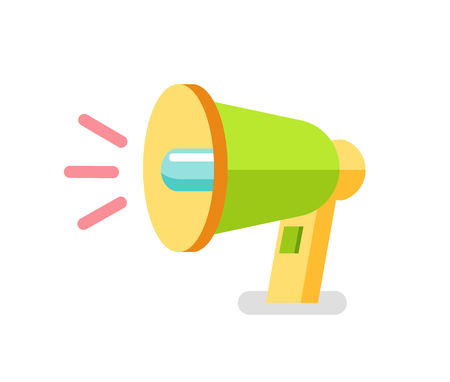Loudspeaker vector icon, colorful megaphone. Speaking-trumpet or bullhorn, 3D view of portable hand-held cone shaped acoustic horn to amplify voice  イラスト・ベクター素材