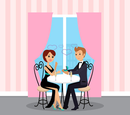 Proposal or engagement, man and woman at restaurant vector. Illustration