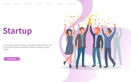 People celebrating success of company vector, achievement of results. Confetti and prize, triumph of team, teamwork in achieving perfection. Website or webpage template, landing page flat style Çizim