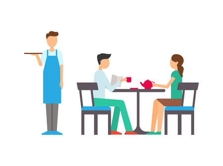 Man and woman in cafeteria, girl holding teapot, boy reading paper and drinking, standing waiter with tray. Leisure of people, flat design of cafe vector