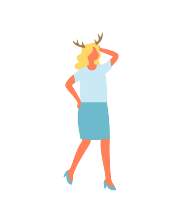 Woman in blue skirt and t-shirt, reindeer horns accessory on head. Vector female in flat design isolated icon. Girl celebrating Xmas party with deer symbol