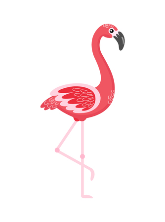 Pink flamingo, element for decoration or symbol for emblem. Side view of standing bird with raised foot, flat style of colorful tropic animal vector
