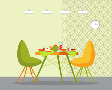 Served table and couple of chairs indoor. Interior of room, hanging lamps and clock. Teapot with cups, cake and donat on plate and glass dishes vector