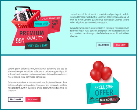 Premium quality products, best offer web pages vector. Standard-Bild - 118113500