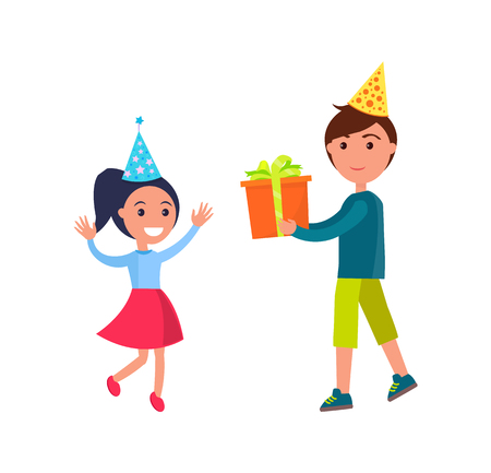 Brother giving present to sister on her birthday vector. Siblings boy and girl wearing celebration paper caps, gift decorated with box, wrapped in red foil Ilustração