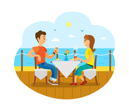 Traveling, couple having breakfast on deck near sea vector. Romantic date at restaurant or cafe on shore or coast, honeymoon, trip or journey, sailboat Stock Vector - 124899832