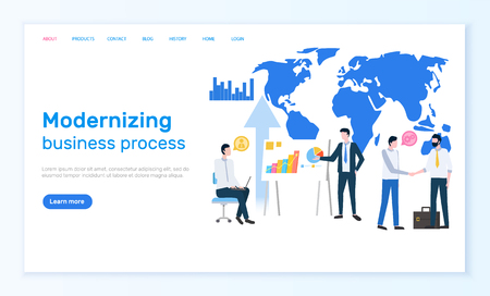 Modernizing business process online Internet page vector.