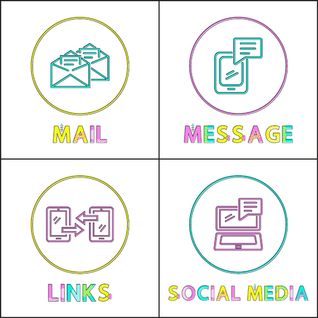 Online communication bright round linear icons set. Mail service, message chat, links exchange and social media isolated flat vector illustrations. Illustration