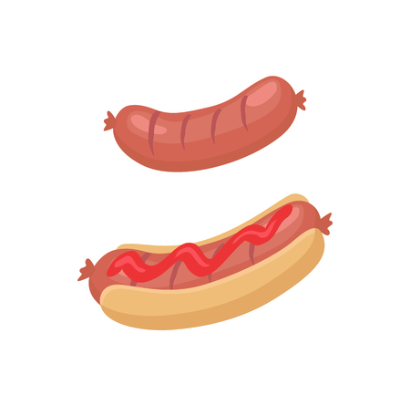 Sausage for barbecue and hot dog icons in cartoon style. One grilled banger and another between buns covered with sauce or ketchup, isolated emblem