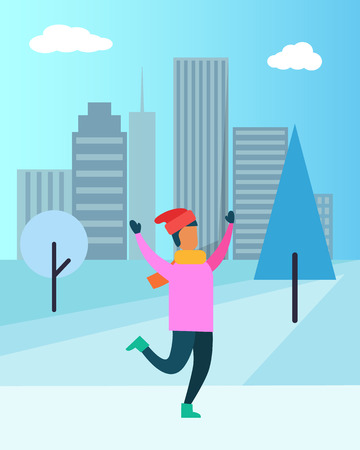 Man in pink sweater, red Santa hat, in warm mittens and cosy boots enjoys snowfall vector illustration poster on cityscape background with skyscrapers