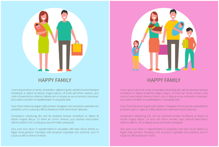 Happy family parents and kids. Couple and children spending time together vector people. Mother holding newborn baby on hands, father with adorable son. Illustration