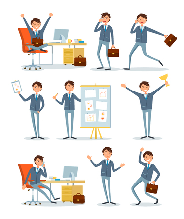 Business people working in office with data vector. Strategy plan company shown by boss, presenter points on details of project. Successful director Ilustração