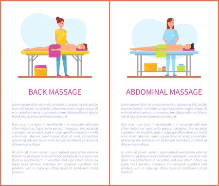 Back and abdominal care massage posters with text sample vector. Treatment and therapy done by masseuses, man lying on table with towel and relaxing Ilustrace