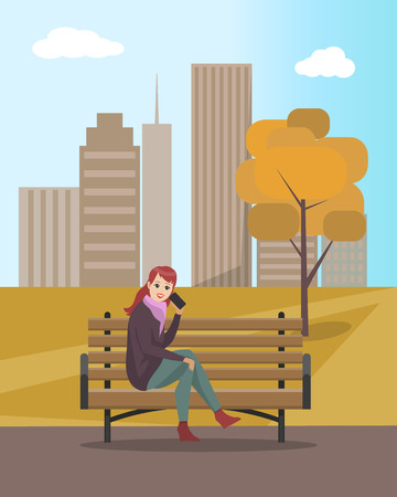 Woman lady talking on mobile cell phone sitting on wooden bench vector. Tree with dry leaves and foliage. Female communicating, skyscrapers and sky Ilustrace
