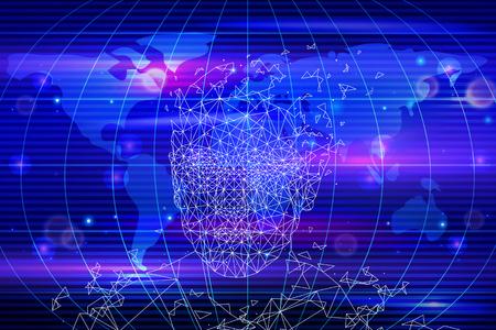 Inteligencia artificial, mapa del mundo y persona de formas geométricas. Nueva tecnología innovadora del ciberespacio y la mente de la computadora, vector de cerebro tecnológico