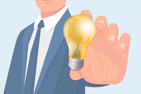 Business idee concept gloeilamp en mannelijke vector. Werknemer draagt formeel pak met stropdas, nieuwe innovatieve gedachten en oplossing van problemen op het werk