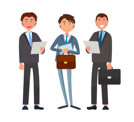 Business affairs, businessmen holding documents vector. Partners looking at details of contract, deal of company directors accomplices. People at work
