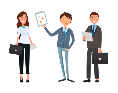 Business meeting of businesswoman and businessman vector. Collaboration and teamwork of partners, strategy planning. Company accomplices and boss Stock Vector - 124822757