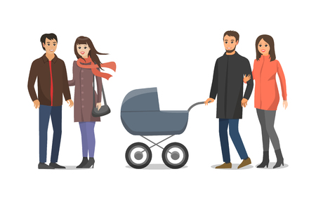 Couple people in love husband and wife walking with perambulator and kid inside. Family mother and father having rest outside. Pair woman and man vector Illustration