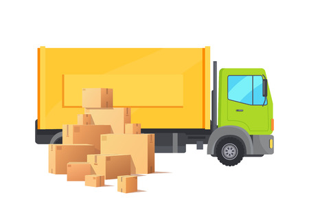 Box carton parcel cardboard packages car vector. Warehouse and truck with big container, automotive and transportation and delivery of cargo pack