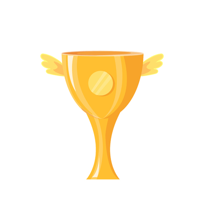 Award in form of cup with wings. Reward for winner with label made of gold. Closeup of icon of winged trophy, victory isolated on vector illustration