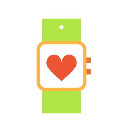 Sport watch with screen isolated icon vector. Smart bracelet device showing heart rate during trainings and workouts. Wristband with buttons on side Ilustração