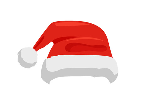 Hat of Santa Claus in red color, traditional costume element for winter character, cap with fur, vector illustration isolated on white background.