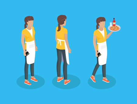 Waiter in uniform, working profession vector icons. Girl in apron, with credit card and tray with food, from different angles, cartoon vector characters 스톡 콘텐츠 - 124822780