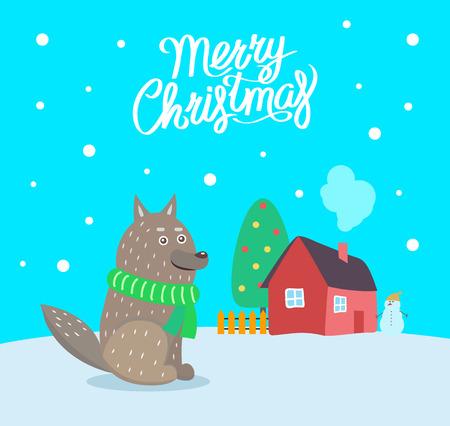 Frohe Weihnachten Wolf mit Schalplakat mit Grußtextvektor. Haus mit Rauch aus dem Schornstein, immergrüne Kiefer mit Spielzeug geschmückt
