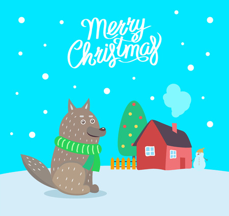 Merry Christmas wolf wearing scarf poster with greeting text vector. House with smoke coming out from chimney, evergreen pine tree decorated with toys