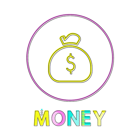 Money web linear icon template with sack of coins. E-commerce round button outline for online shop app isolated cartoon flat vector illustration.