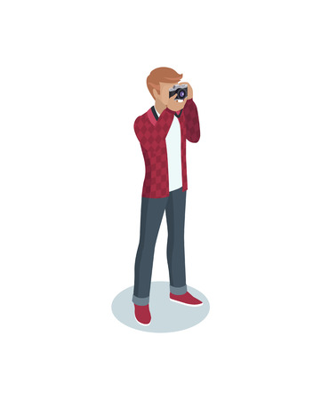 Photographer occupation icon closeup. Man wearing square red jacket taking photos with help of camera. Human working as journalist isolated on vector