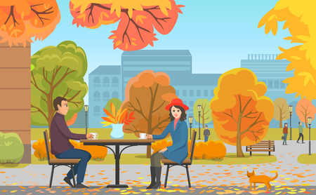 Autumn park and couple drinking coffee near cafe. Woman in hat in front of man with hot beverages among fall trees, ginger cat vector illustration.