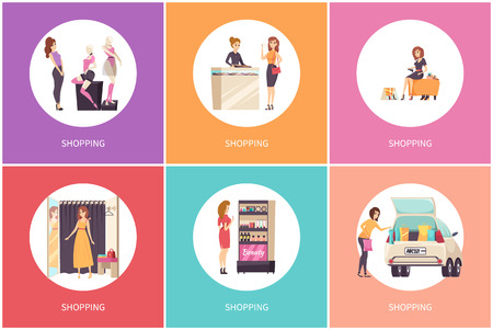 Shopping females in clothes store posters vector. Mannequins showcases, jewelry department, changing room and cosmetics stand with makeup products Illustration