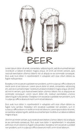 Beer and tasty ale with foam poured into various goblets poster with text. Vector illustration of graphic art, pair of glasses with refreshing drink Illustration