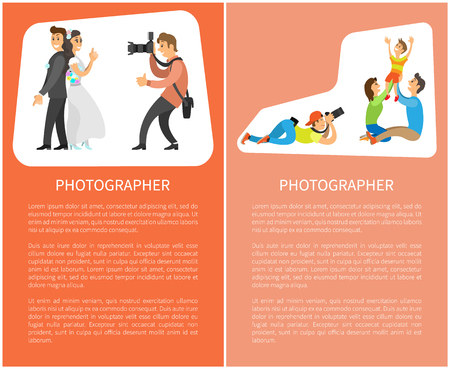 Wedding photographer and family photosession banners. Photo of bride next to groom, mother with father holding child vector posters with text sample Banco de Imagens - 124822843