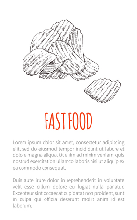 Fast food fried potato poster with text monochrome sketch outline. Drawn chips delicious snack crunchy lunch salted takeaway product fries vector