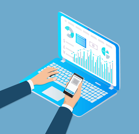 Digital analytics laptop with data and screen and cell phone with info. Man filling information, visualization of charts, diagrams and graphics vector
