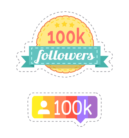 Follower and rainbow ribbon with profile of internet web user vector. Patches of rounded shape, chatting box form and icon. Social network buttons Çizim
