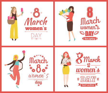8 March posters vector, womens day with girls holding spring bouquets and smiling. Emotional people girls with roses and pink hyacinth in basket