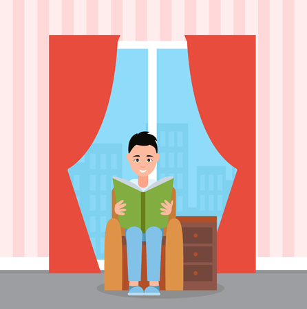 Smiling boy sitting on armchair and reading book. Interior of room, bedside table, panoramic windows with curtains, view of buildings, literature vector