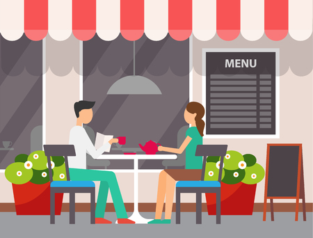 Man and woman sitting in cafe vector. Terrasse of restaurant, couple enjoying weekend in coffee shop, people drinking tea pouring from ceramic kettle Illustration