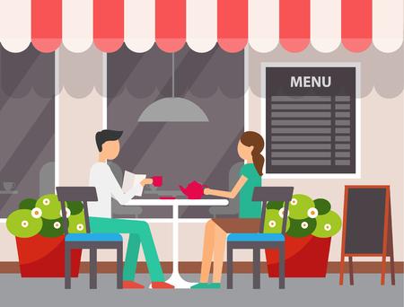Uomo e donna che si siedono nel vettore del caffè. Terrazza del ristorante, coppia che si gode il fine settimana nella caffetteria, persone che bevono tè versando dal bollitore in ceramica Vettoriali