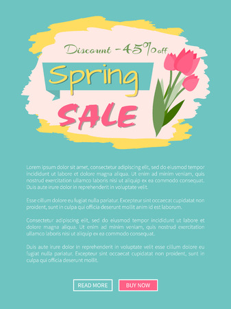 Spring sale, discount 45 percent off, webpage decorated by pink tulips, shopping online. Website with links buy and read now, springtime prices vector Illustration