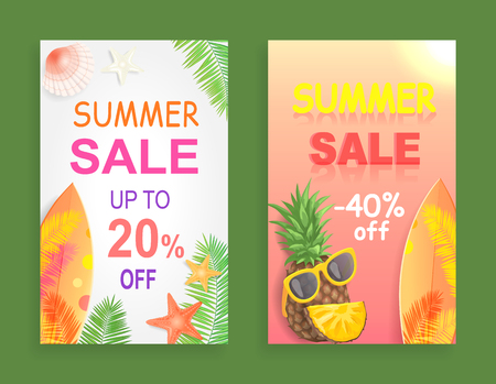 Summer sale reduction off price set of promotional posters vector. Surfboard and starfish, palm tree leaves and pineapple with sunglasses,,  accessory Illustration