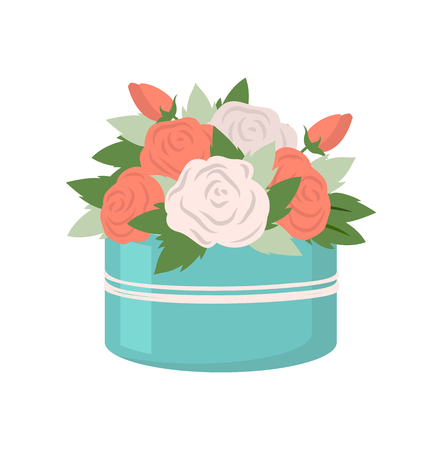 Present in box vector, isolated icon of blue rounded package with flowers. Packet of bouquet, roses with leaves of different shape, flat style drawing
